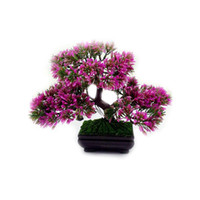 ingrosso illuminazione bonsai-Piante artificiali Bonsai Pianta in vaso Mini fiore di simulazione Foglie Casa Piante per la casa Indoor Decor (rosso) Giallo chiaro