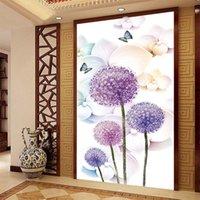 lila tapete für wohnzimmer großhandel-New 3D maßgeschneiderte lila Löwenzahntapete romantische reine und frische Pflanzenmalerei Heimwerker Vestibül Wohnzimmer