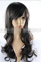 longo cabelo cacheado preto meninas venda por atacado-WIG LL 001447 Cosplay Cabelo Moda Hot Sexy Girls Peruca Ondulada Longa Encaracolado - Preto