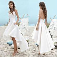yüksek düşük beyaz plaj elbiseleri toptan satış-100 $ altında ucuz Beyaz Yaz Gelinlik 2019 A Hattı Plaj Boho Gelin Törenlerinde Yüksek Düşük Backless Spagetti Sapanlar Tatil törenlerinde BC0354