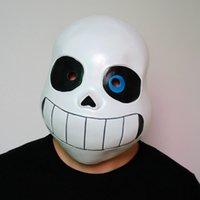 erkek çocuklar için karnaval kıyafetleri toptan satış-Kid Undertale İSKELET Sans Cosplay Lateks Cadılar Bayramı Kafatası Cos Şapkalar Boy Kız Karnaval Cosplay Kostümler Maske SOĞUMASıNı