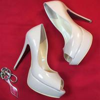 zapatos de vestir color nude al por mayor-Zapatos de tacón alto de las mujeres vestido de fiesta de moda fondo rojo sexy Nude zapatos del dedo del pie plataforma de la hebilla de los zapatos de boda negro blanco color rosa con caja