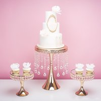 Wholesale cupcake centerpieces resale online - 2019 gold luxury crystal wedding tall big cake centerpieces display stand holder fondant macaron cupcake cake decorating candybar dessert