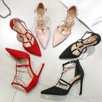 zapatos de vestir chica sexy al por mayor-2019 Mujeres de diseñador de moda sexy zapatos de tacón alto nuevo joker negro fino cingulate zapatos de vestir de niña francesa con un tamaño de palabra33-39