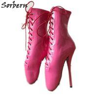 zapatillas de ballet con cordones al por mayor-Rosa Rosa Botas sexy para mujer 18 cm de tacón alto Ballet Stilettos Lace Up Bdsm Runway Shoe Sexy Fetish Boot tamaño 43 Unisex