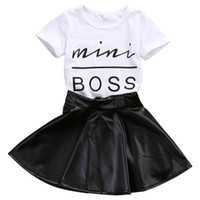 conjuntos de saia para meninas venda por atacado-Nova Moda Infantil Crianças Menina Roupas Definir Verão de Manga Curta Mini Boss T-shirt Tops + Saia De Couro 2 PCS Outfit Criança Terno