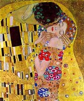 Wholesale abstract art paintings canvas free for sale - Group buy The Kiss by Gustav Klimt Handpainted HD Print Famous Abstract Oil Painting On Canvas Wall Art Home Deco p187