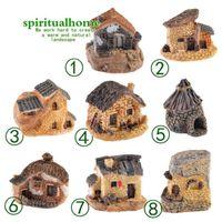 ingrosso pietre di resina diy-Carino Mini Stone House Fairy Garden Miniature Craft Micro Cottage Paesaggio Decorazione per DIY Resin Artigianato 8 stili DLH111