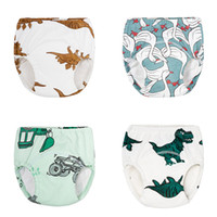 Wholesale diapers boy resale online - Baby Cartoon Cloth Diapers Style Animal Printed Diapers Pants Infant Girls Boys Cotton Elastic Training Pants Reusable Cloth Nappy