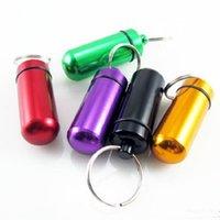 kleine medizinflaschen groihandel-Aluminiumlegierung wasserdichte kleine Medizinflasche Schlüsselkette Außendichtung Speicher Kreativbox Medizin Schlüsselring