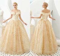 vestidos de noche de encaje princesa línea al por mayor-2020 Champagne Lace Appliqued A-line Vestidos de baile Lujo Fuera del hombro Princesa Vestido de noche 100% Imágenes reales Vestido de fiesta formal CPS1298