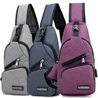 Wholesale shoulder sling backpacks for sale - Group buy Men Canvas Creative USB Charger Port Anti theft Chest Pack Travel Bags Backpack Rucksack Shoulder Sling Bag