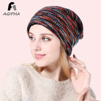 Wholesale skull cap style for sale - Group buy New Style Winter Warm Knitted Hats For Women Double Layer Thermal Lined Beanie Cap Women Retro Multicolor Skullies Hat Type JY05