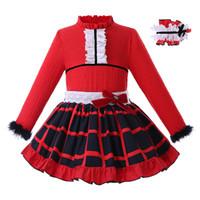 falda larga de cuadros rojos al por mayor-Pettigirl Red Girls Set de ropa con sombreros de manga larga Tops + Faldas a cuadros Boutique Niños Ropa de diseño Chicas G-DMCS107-B358