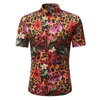 erkek gündelik gömlek giymek toptan satış-Leopar Çizgili Baskı Gömlek Çiçekler Vintage Erkekler Bluz Hip Hop Boy Parti Giymek Kısa Kollu Blusa Yaz Plaj Rahat 3XL Tops