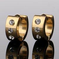 ingrosso orecchini in diamante nero in acciaio inox-Orecchini di cristallo in acciaio inox borchie di cristallo piercing all'orecchio orecchini a gancio oro nero moda Hip Hop Jewlery DROP SHIP 170854