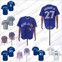 jay azul venda por atacado-Personalizada Toronto Baseball Jersey azul qualquer nome número Jays 27 Vladimir Guerrero Jr. 51 Ken Giles 37 Teoscar Hernandez 14 Justin Smoak S-4XL