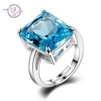 aquamarin stein ringe großhandel-Hohe Qualität Aquamarin Ringe Für Frauen 12x16 MM Sky Blue Stones Silber 925 Schmuck Ehering Verlobungsfeier Geschenk Großhandel