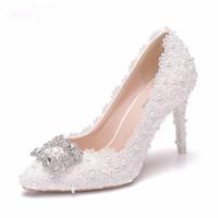 beyaz çizgili akşamlık ayakkabısı toptan satış-9 CM Kare Toka Rhinestone Beyaz Dantel Pompaları Sivri Burun Ince Yüksek Topuklu Seksi Parti Akşam Düğün Ayakkabı cvfdrt Pompalar