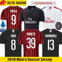 camisa de futebol milão venda por atacado-19 20 AC Milan Camisas De Futebol ROMAGNOLI 2019 2020 AC Milan PIATEK Camisa SUSO Maglia da calcio S.CASTILLEJO KESSIE Soccer Jerseys