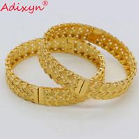 pulseiras de pulseira de ouro africano venda por atacado-Adixyn 2 PÇS / LOTE, Dubai (pode abrir) pulseira para mulheres / meninas cor de ouro africano médio oriente pulseira jóias presentes n072412