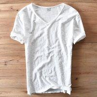 weiße t-shirts v hals männer großhandel-Italien Style Fashion Kurzarm Baumwolle Herren T-Shirt Casual V-Ausschnitt Weiß Sommer T-Shirt Herren Markenkleidung Herren T-Shirts Camiseta Y19072201