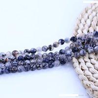 """8 mm Jaune veines de dragon Agate Round Beads Jasper collier 36/"""""""