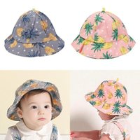 Wholesale newborn baby boy sun hats resale online - Newborn Baby Girls Boys Sun Hat Cotton Fisherman Cap Lovely Fruit Pineapple Floral Hat Kisd Summer Dressing Accessories