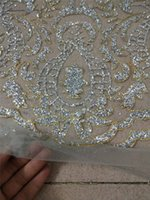 Wholesale gluing fabric resale online - Good looking silver glitter gold edge african glued glitter lace JRB embroidery tulle mesh lace fabric for sexy dress