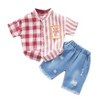 плед шорты полосатая рубашка оптовых-Kids Boys Set Summer Plaid Striped Print Short Sleeve Tops Blouse T-shirt+Shorts Casual Outfits Sets