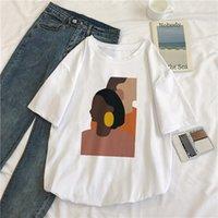 ingrosso pittura della corea-Harajuku Corea Vintage astratta dipingere donne T-shirt estate casuale allentata Maniche corte O-Collo T S-2XL T-shirt divertente Top