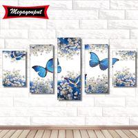 kelebekler çapraz dikiş toptan satış-5 yükleme Tam 5D Elmas Boyama Kitleri Nakış Çiçek Kelebek Çapraz Dikiş kitleri oturma odası mozaik desen Ev Dekor BI212