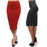 falda roja de cuero falso al por mayor--NUEVO Calidad Falda de talle alto Casual Otoño Invierno Faux Leather Lápiz Falda Negro Rojo Cuero