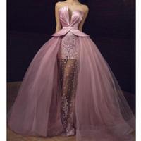 pembe uzun islami elbiseler toptan satış-Pembe Arapça Gelinlik Modelleri 2020 Balo Sevgiliye Tül Dantel İnciler İslam Dubai Suudi Uzun Akşam elbise Balo Artı Boyutu