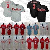 camisetas de práctica de béisbol al por mayor-Filadelfia masculino Phillies 3 Bryce Harper Mike Schmidt Aaron Nola 14 Pete Rose Red Cooperstown Malla de béisbol Práctica de béisbol Jerseys