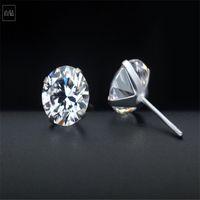 Wholesale zircon cubic sterling cz earrings online - New Sterling Silver CZ Stud Earring For Women Men Fine Jewelry Simple Trendy Cubic Zircon Ear Studs Wedding Jewelry