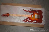 Wholesale beautiful hand guitar resale online - Red flame beautiful high quality electric guitar