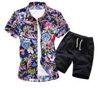 chemisiers de vacances noirs achat en gros de-Hommes Hawaï de vacances été chemisier à fleurs chemise haut costume ensembles pantalon noir 2PC 5 couleurs