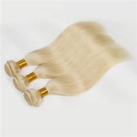 Wholesale vietnamese 7a brazilian hair weave for sale - Group buy 7A European Blonde Virgin Straight Hair Weaves Color White Blonde Human Hair Weft g bundles Inch European Virgin Hair