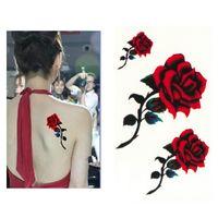 tatuajes falsos sexy al por mayor-Sexy Rosa Roja Diseño Mujeres Impermeable Cuerpo Brazo Arte Tatuajes Temporales Etiqueta Pierna Flor Falso Tatuaje Manga de Papel Consejos de Herramientas