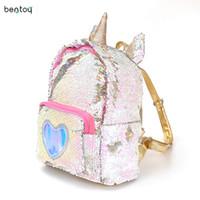 Wholesale female schoolbag for sale - Group buy 2019 Women Sequins Backpack Cute Unicorn Schoolbag For Teenage Student Girls Satchel Female Mochila De Couro Packpack School Bag J190427