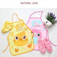 шляпы шеф-повара  оптовых-Cartoon Cute Children Apron Fashion Chef Hat Pocket Set Kids Craft Art Kitchen Cooking Chef Suit Drink  Baking