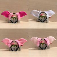 sevimli erkek kız giymiş toptan satış-Sevimli Hayvan Domuz Kulak Bandı Yumuşak Kabarık Saç Çember Erkek Ve Kız Giydirme Malzemeleri Için Pembe 4 wb BB