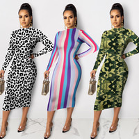 Wholesale spandex dress sleeves resale online - New Arrivals Leopard Camouflage Stripes Printed Fashion Sheath Dress High Neck Long Sleeves Mid Calf Elegant Bodycon Dresses
