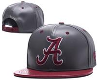 кожаные футбольные кепки оптовых-Alabama Crimson Tide Snapbacks Колпаки для футбола NCAA Регулируемая шапка новый Кожаная кепка американский футбол Красный 01