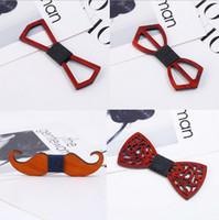 tamanho padrão da gravata venda por atacado-Maxi Rosewood colar gravata arco de madeira gravata dos homens laço geométrico handmade laço criativo arco