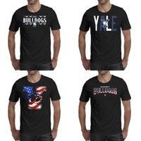 panel de texto al por mayor-Impresión para hombre Yale Bulldogs Text flag Camiseta negra desgastada Divertido Retro Crazy Shirts College Basketball USA logo wordmark football