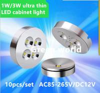 mini led lumières minces achat en gros de-10pcs / set LED ultra mince 3W plafonnier plafonnier, AC85-265V led lampe murale, comptoir de bijoux, mini lampe d'exposition rotative