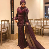 Wholesale nude long dress gold sequin for sale - Group buy Glitter Sequin Mermaid Muslim Evening Dresses Feathers Long Sleeves Arabic Dubai Formal Gowns Sweep Train with Cape Evening Wear