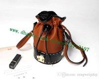 bolsa de couro drawstring venda por atacado-Top Grade Brown lona revestido senhora Real Leather Handbag PETIT NOE M43509 M43511 Mulheres Drawstring Bucket Bag Ombro